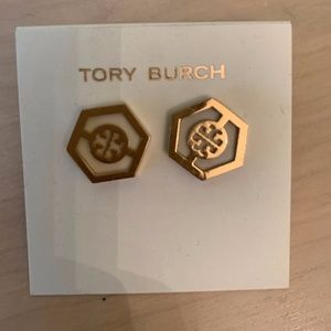 Tory Burch Caroline Button Earrings white and Gold